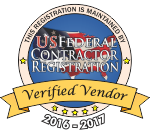 "US Federal Contractor Registration"" title=""US Federal Contractor Registration System for Award Management Verified Vendor Seal"